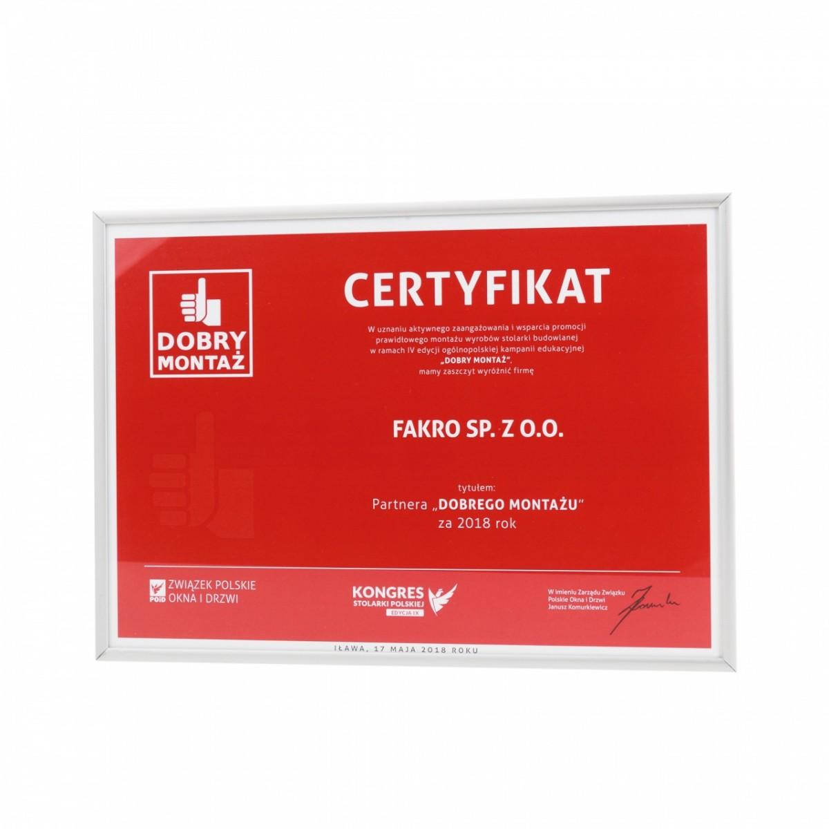 Certyfikat dla FAKRO