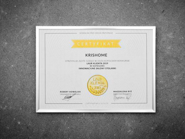 Sieć salonów KRISHOME nagrodzona Laurem Klienta 2019