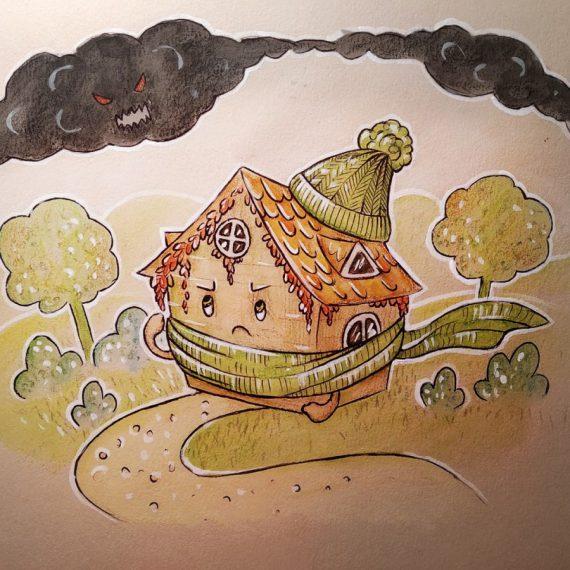 Wyróżniona praca konkursowa, pt. Ocieplony domek walczący ze smogiem, autorstwa Katarzyny Szuszko